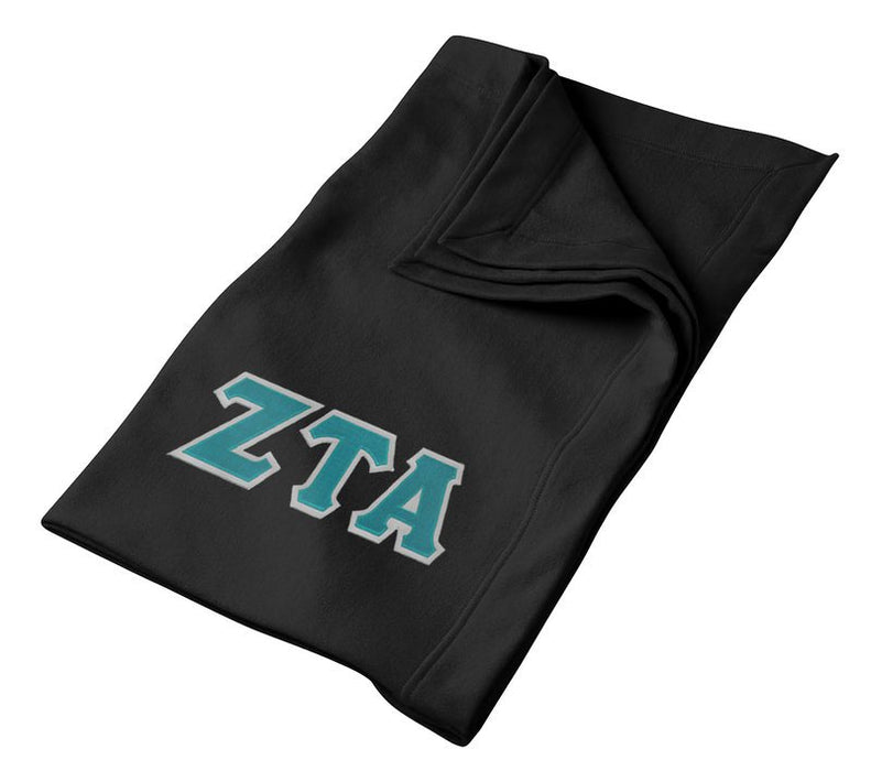 Zeta Tau Alpha Greek Twill Lettered Sweatshirt Blanket