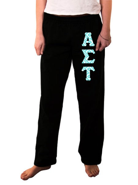 Alpha Sigma Tau Open Bottom Sweatpants with Sewn-On Letters
