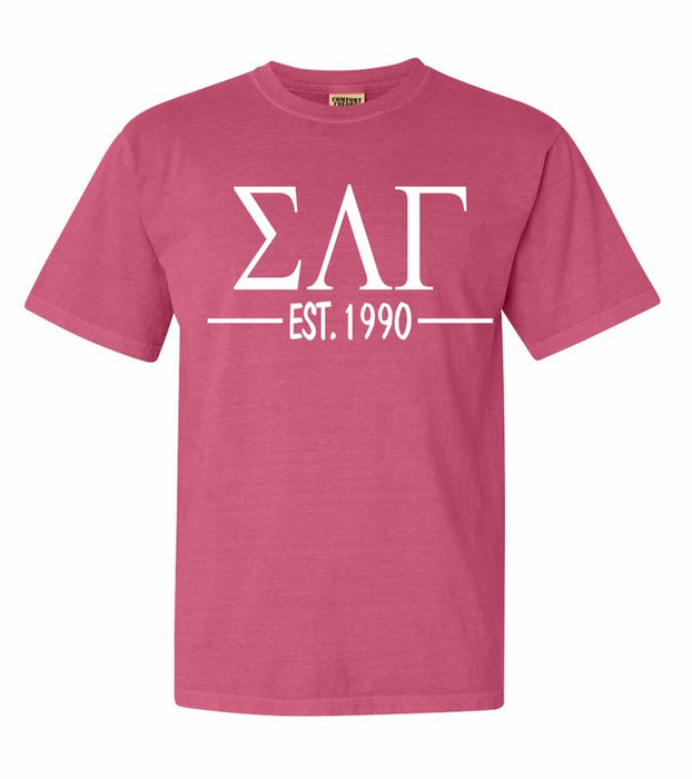 Sigma Lambda Gamma Comfort Colors Established Sorority T-Shirt
