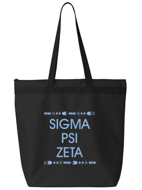 Sigma Psi Zeta Arrow Top Bottom Tote Bag