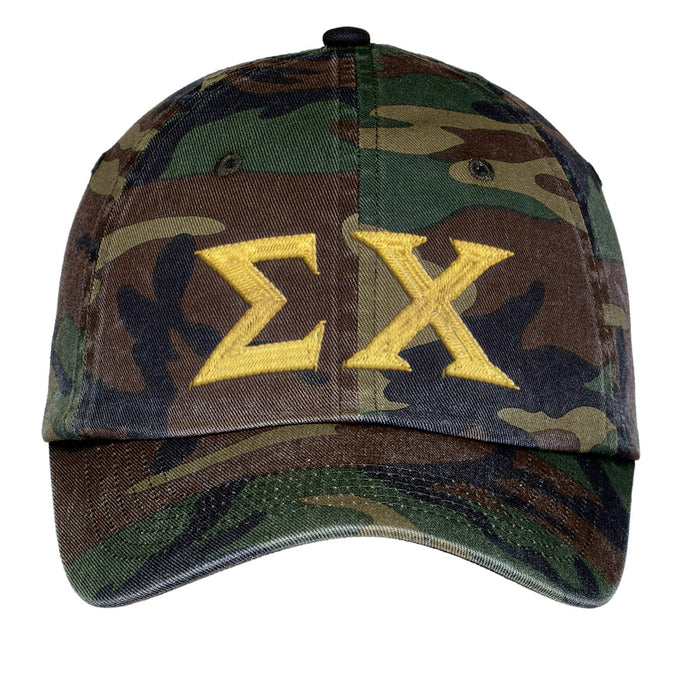Sigma Chi Letters Embroidered Camouflage Hat