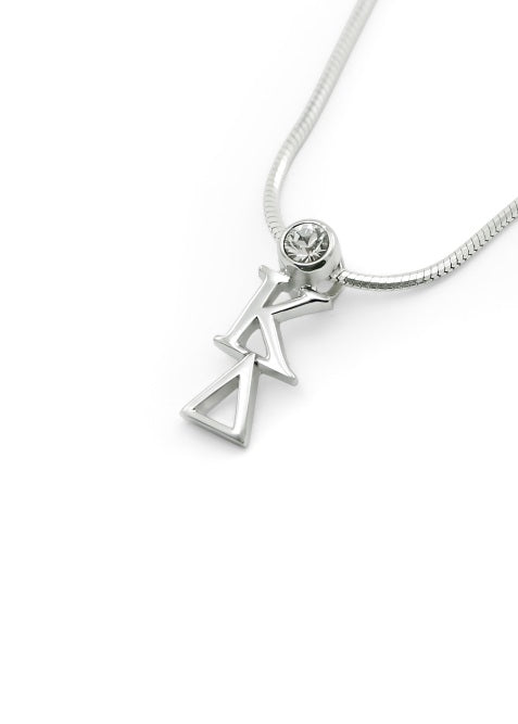 Kappa Delta Sterling Silver Lavaliere Pendant with Clear Swarovski Crystal