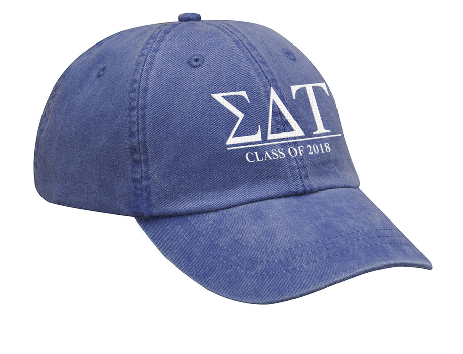 Sigma Delta Tau Embroidered Hat with Custom Text