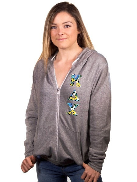 Kappa Delta Chi Fleece Full-Zip Hoodie with Sewn-On Letters