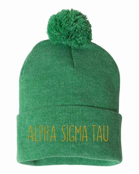 Alpha Sigma Tau Sorority Beanie With Pom Pom