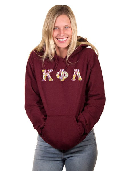 Kappa Phi Lambda Unisex Hooded Sweatshirt with Sewn-On Letters
