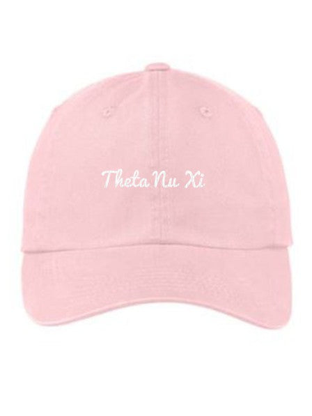 Theta Nu Xi Cursive Embroidered Hat