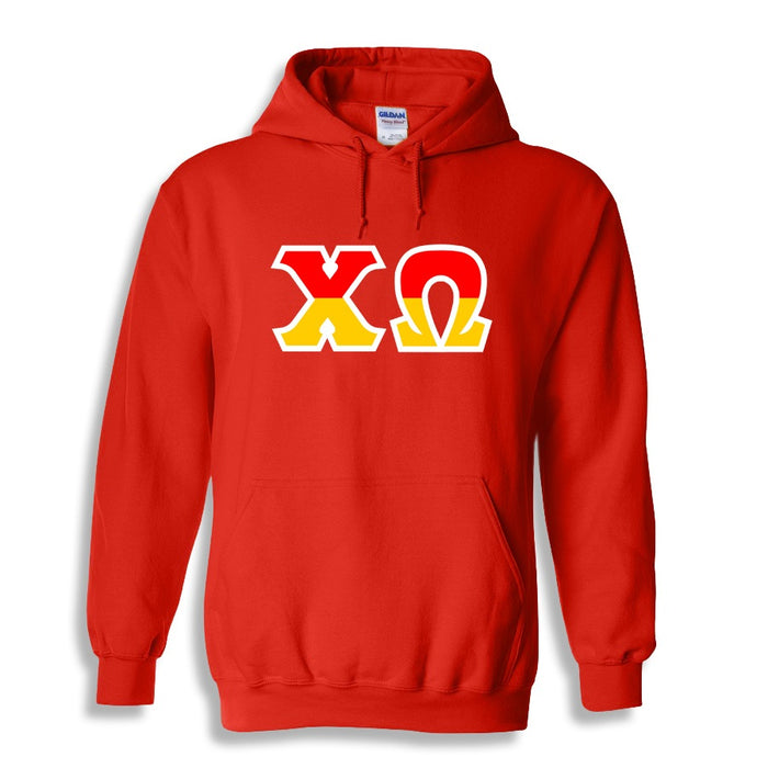 Chi Omega Two Toned Lettered Hooded Sweatshirt