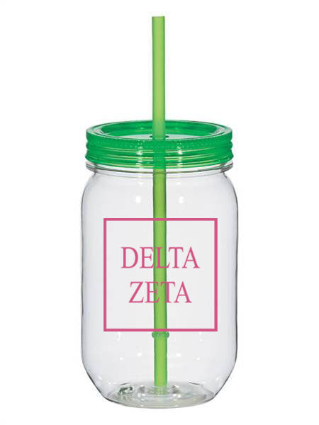 Delta Zeta Box Stacked 25oz Mason Jar