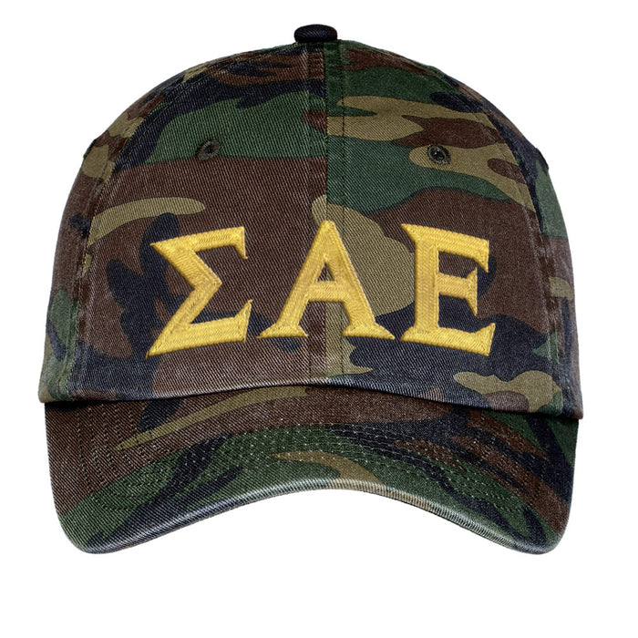Sigma Alpha Epsilon Letters Embroidered Camouflage Hat