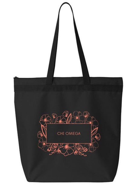 Chi Omega Flower Box Tote Bag