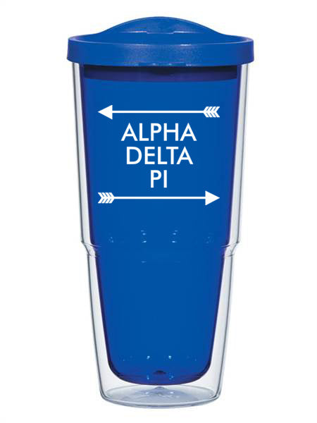 Alpha Delta Pi Arrow Top Bottom 24oz Tumbler with Lid