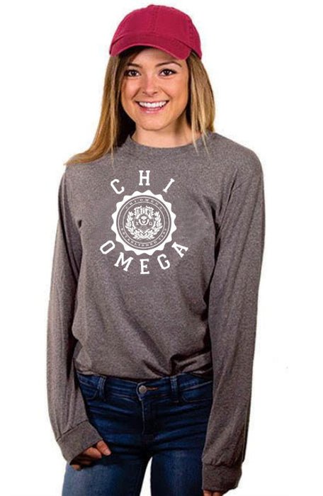 Chi Omega Crest Long Sleeve Shirt