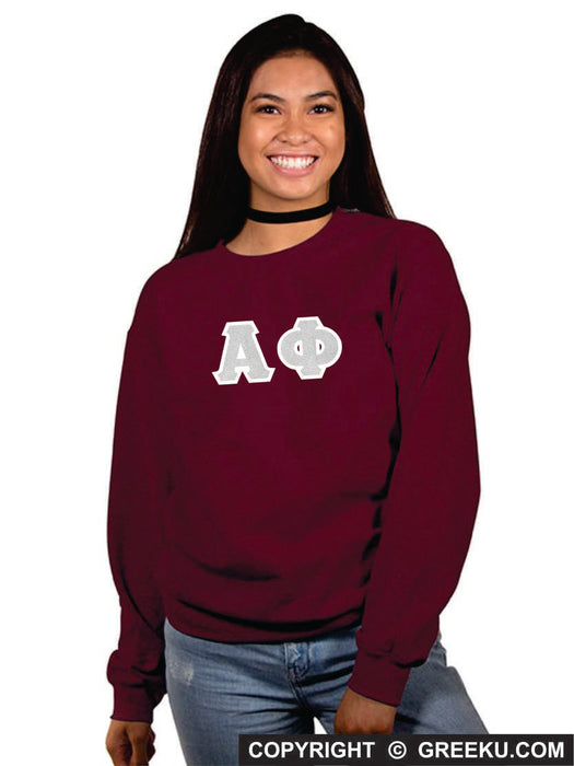 Alpha Phi Classic Colors Sewn-On Letter Crewneck