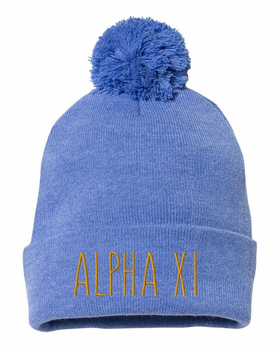 Alpha Xi Delta Sorority Beanie With Pom Pom