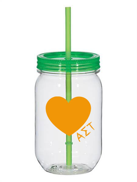 Alpha Sigma Tau 25oz Scribbled Heart Mason Jar