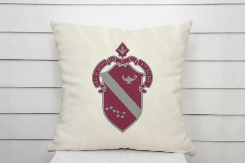 Alpha Phi Linen Shield Throw Pillow
