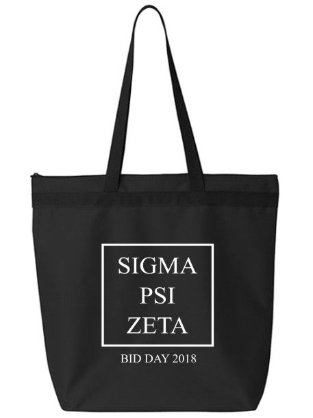Sigma Psi Zeta Box Stacked Event Tote Bag