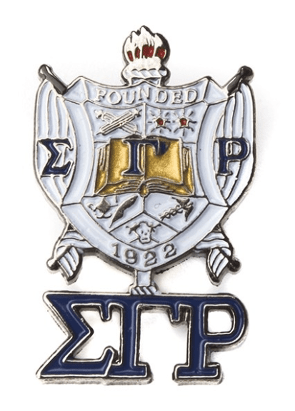 Sigma Gamma Rho Shield With Greek Letters Pin