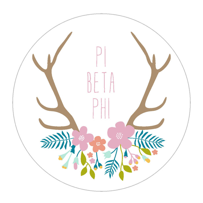 Pi Beta Phi Floral Antler Sticker