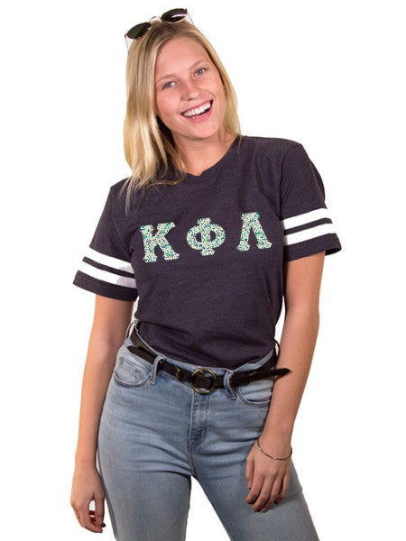 Kappa Phi Lambda Unisex Jersey Football Tee with Sewn-On Letters