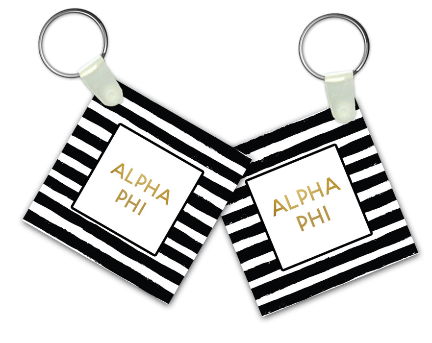 Alpha Phi Striped Gold Keychain