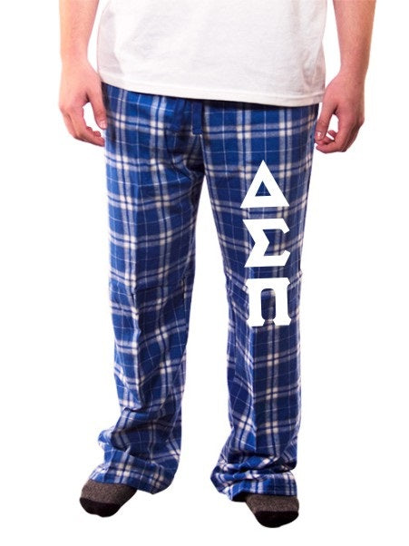 Delta Sigma Pi Pajama Pants with Sewn-On Letters