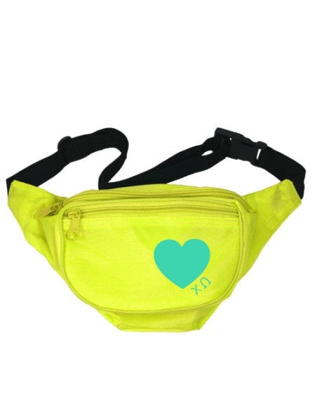 Chi Omega Scribbled Heart Fanny Pack