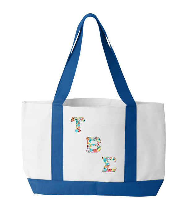 Tau Beta Sigma 2-Tone Boat Tote with Sewn-On Letters
