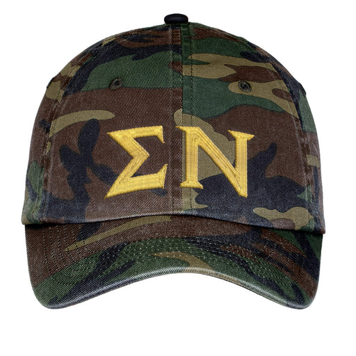 Sigma Nu Letters Embroidered Camouflage Hat