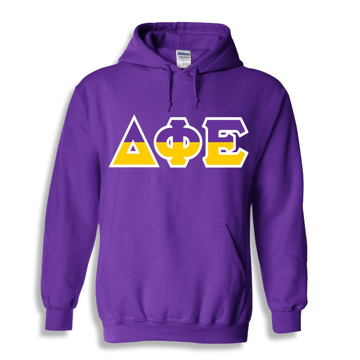Delta Phi Epsilon Two Toned Lettered Hooded Sweatshirt