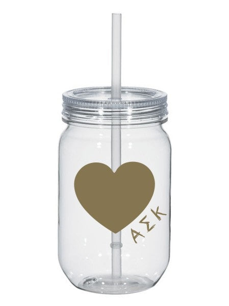 Alpha Sigma Kappa 25oz Scribbled Heart Mason Jar