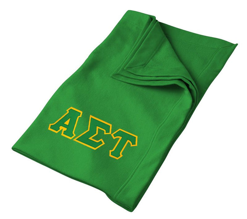 Alpha Sigma Tau Greek Twill Lettered Sweatshirt Blanket