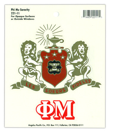 Phi Mu Crest Decals Crest Decal