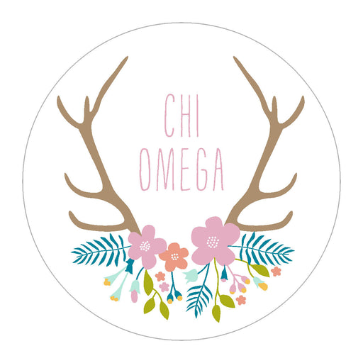 Sorority Floral Antler Sticker