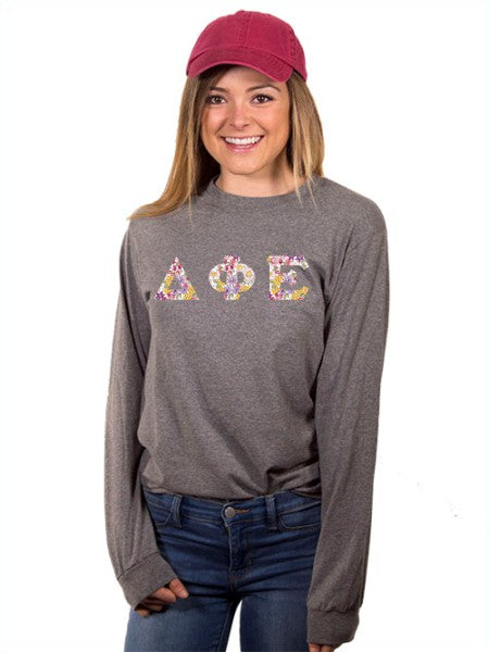 Delta Phi Epsilon Long Sleeve T-shirt with Sewn-On Letters