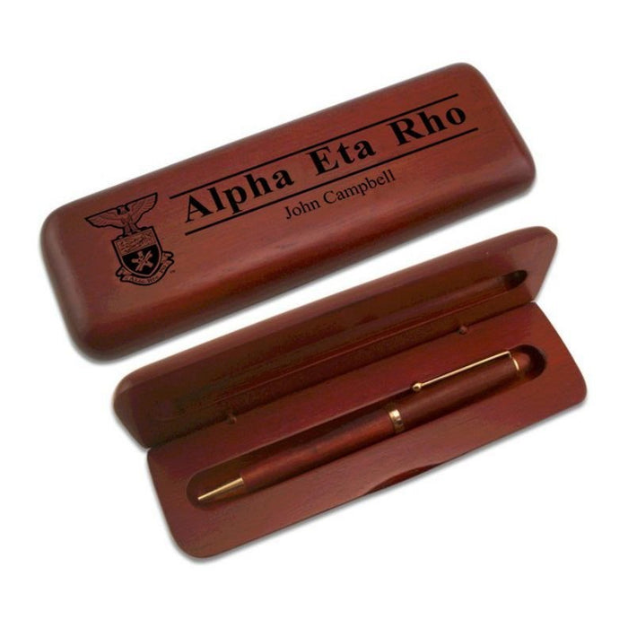 Alpha Eta Rho Wooden Pen Case & Pen