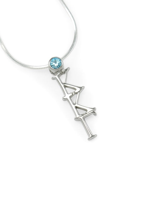 Kappa Kappa Gamma Sterling Silver Lavaliere Pendant with Swarovski Crystal