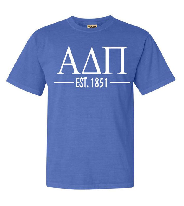 Alpha Delta Pi Comfort Colors Established Sorority T-Shirt