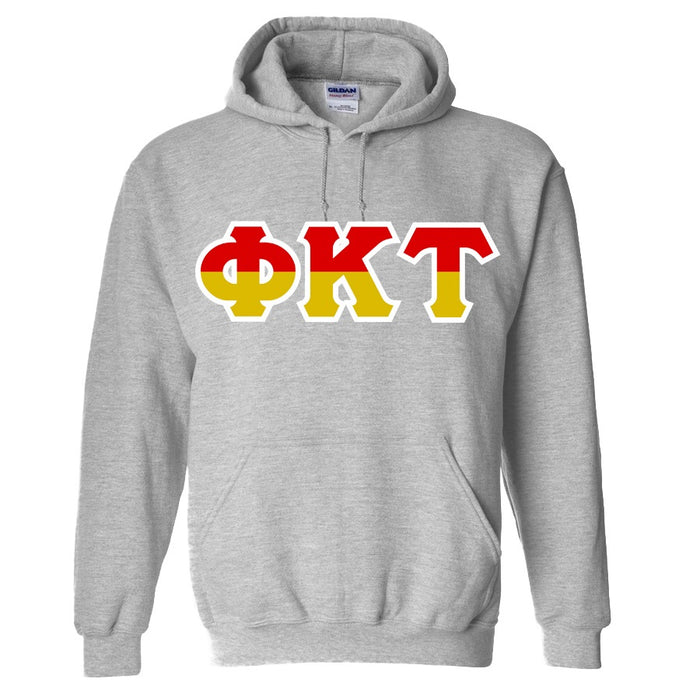 Phi Kappa Tau Two Toned Lettered Hooded Sweatshirt