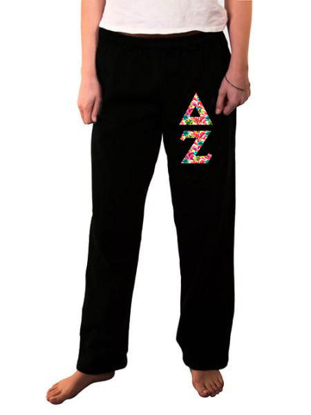 Delta Zeta Open Bottom Sweatpants with Sewn-On Letters