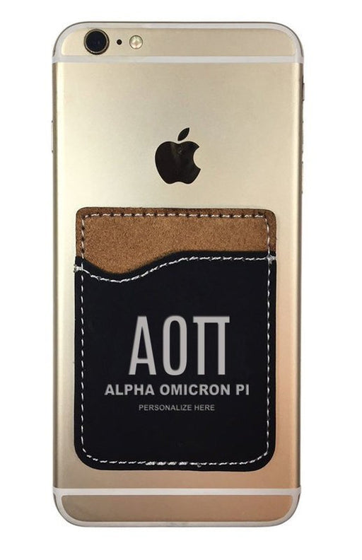 Alpha Omicron Pi Engraved Phone Wallet