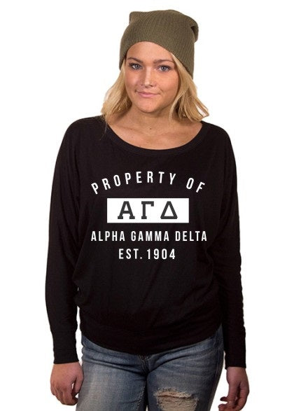 Alpha Gamma Delta Property of Flowy Long Sleeve Off Shoulder Tee