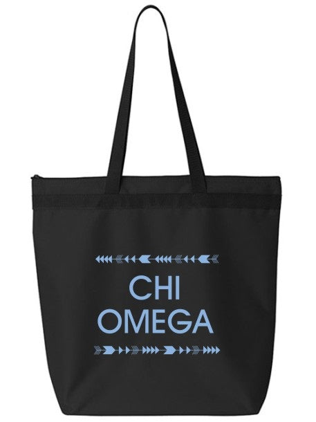 Chi Omega Arrow Top Bottom Tote Bag