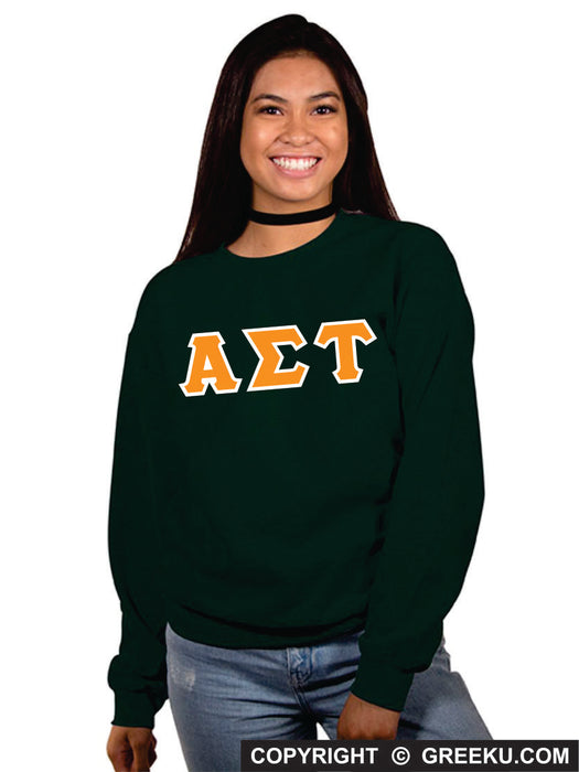 Alpha Sigma Tau Classic Colors Sewn-On Letter Crewneck