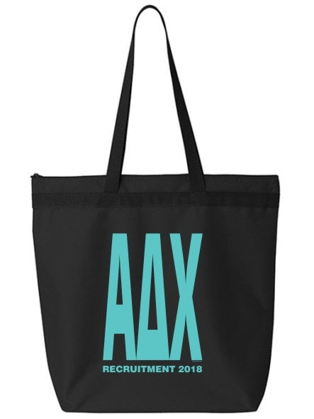 Alpha Delta Chi Impact Letters Zippered Poly Tote