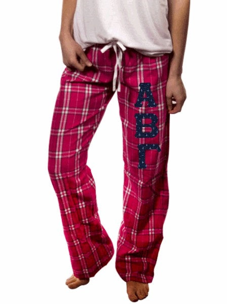 Sorority Pajama Pants with Sewn-On Letters
