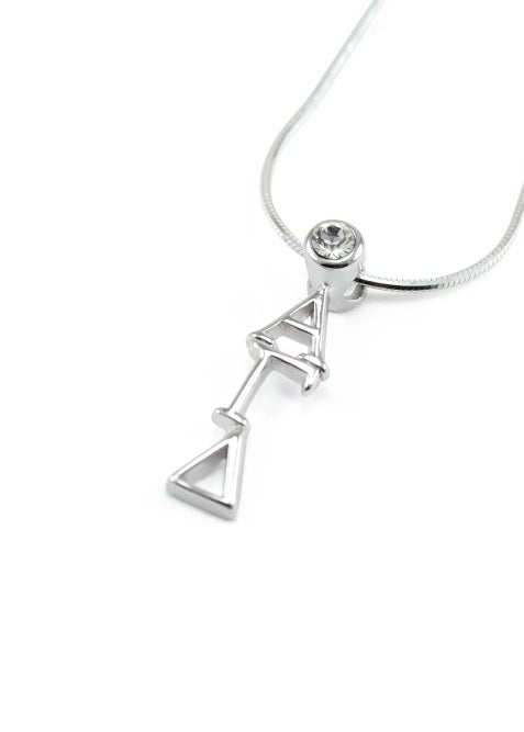Alpha Gamma Delta Sterling Silver Lavaliere Pendant with Clear Swarovski Crystal