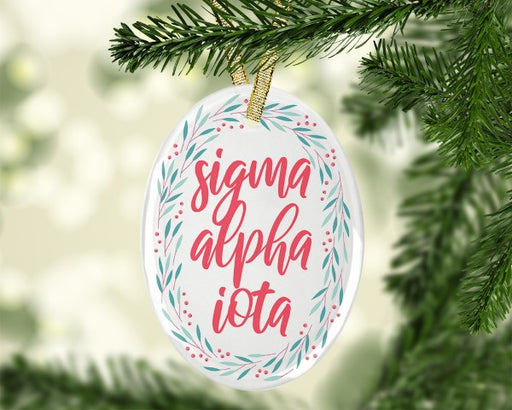 Sigma Alpha Iota Festive Glass Christmas Holiday Ornament