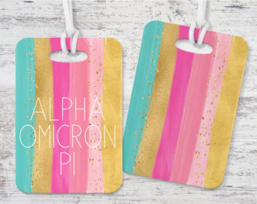 Alpha Omicron Pi Bright Stripes Luggage Tag